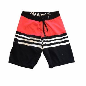 Maui and Sons Red & Black Striped Swim Shorts